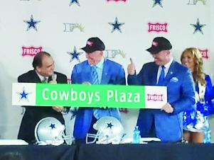 Cowboys owner Jerry Jones and his son, Stephen, right, take part in a ceremony with Frisco Mayor Maher Maso and other city officials.