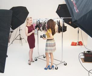 VIRTUAL DRESSING ROOM: HerRoom.com founder Tomima Edmark, left, works with photographer Suleika Bloom in the company's photo studio. Edmark expects to sell $100 million in underwear online in 2014.