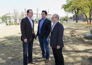 From left, Free Range Concepts partners Josh Sepkowitz and Kyle Noonan with Neal Sleeper, president of Cityplace Co., at the Uptown site of their new project opening in July.