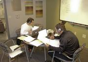 TCU students Alajandro Orfanos and Aaron Gonzalez using the Vue's study suite.