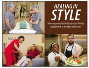Clockwise, from top left, radiology technologist Leonard Quiles and registered nurse Susan Lemons prep a patient for surgery; staff chef's Cherree Johnson and Miguel Valle prepare meals to order based on a daily menu, and Chief Nursing Officer Karen Sperduti checks up on knee replacement patient Jesse Brooks.