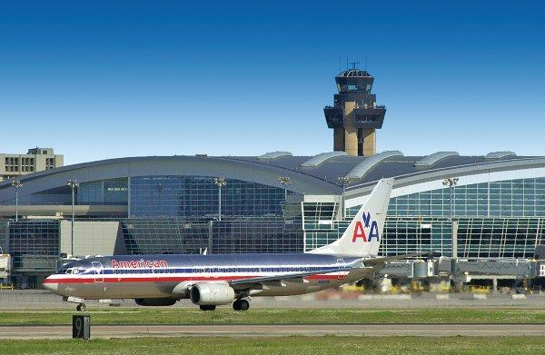 An American Airlines plane taxis at Dallas/Fort Worth International Airport.