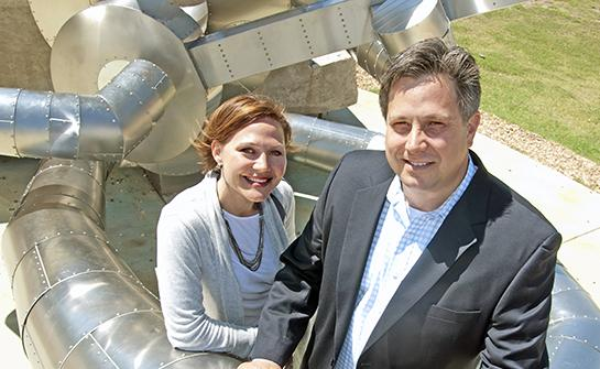 Power couple: Matthew Strong, at right, formed Class One Solutions to help industrial and commercial clients find ways to reduce energy consumption. His wife, Julie Strong heads up C1S Group, a certified women's business enterprise that handles LEED consulting.