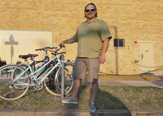 Seeing the benefit: Bike lanes are an amenity valued by the 'creative class' that could spur economic development for Dallas, said Edwin Cabaniss, owner of The Kessler Theater on West Davis Avenue.