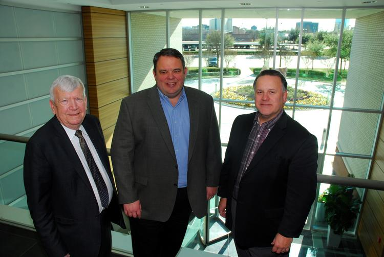 NEW DIGS: Bob Townsend, mayor of Richardson; Robert Craycraft, CEO of Safety-Kleen; and Bill Sproull, CEO of the Richardson Economic Development Partnership, in Safety-Kleen's new headquarters.