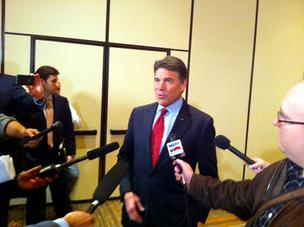 Texas Gov. Rick Perry is trying to drum up business in California.