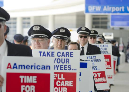 Before agreeing to a new contract with American Airlines, members of the Allied Pilots Association, protested working conditions at Dallas/Fort Worth International Airport.