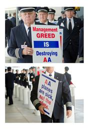 American Airlines pilots took to sidewalks of D/FW Airport this week. The uniforms, downtrodden mugs and signs made a great slideshow.