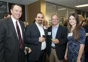 Bill Hethcock, Cameron Stewart, Mark Phillips and Jade Fountain network at the DBJ's After Hours event at The Foundry.