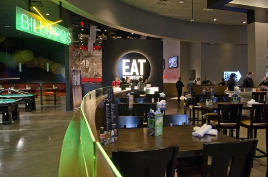 The bar and billiards area at Dave & Buster's new flagship.