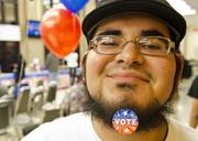 El Centro student Jose Hernandez supports his right to vote at El Centro College's presidential election watch party.