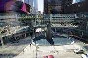 The fountain area of First Baptist Dallas will be turned on Sunday night.