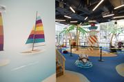 A children's area resembles an island oasis at the new First Baptist Church Dallas.