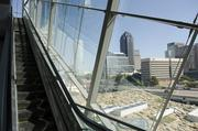The view from the inside of the exterior 54-foot glass encased escalator.