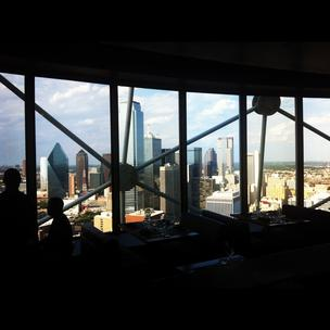 Five Sixty is truly a room with a view as the restaurant high atop Reunion Tower rotates to give a panoramic vista of downtown Dallas.
