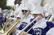 The TCU marching band kept the crowd worked up.