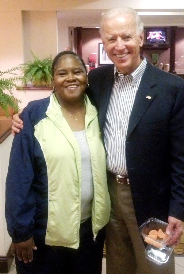 Vice President Joe Biden and Minnie Bethel, 58, who has been living at the Hampton Inn in Springfield, Ohio, since Sept. 17 when her house burned down