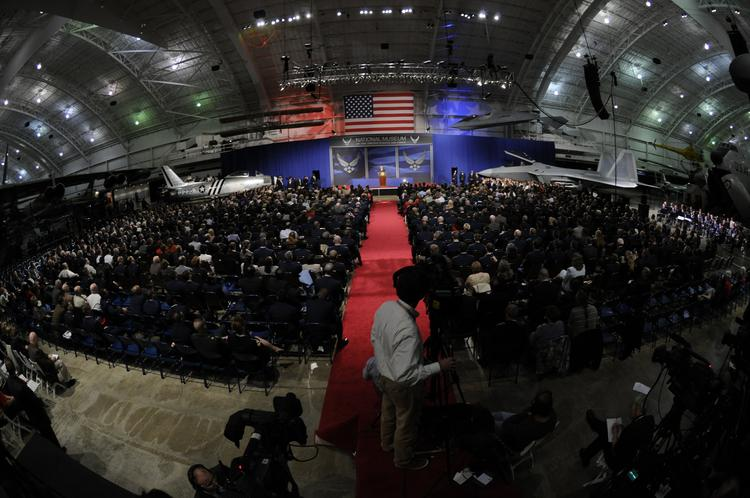 This photo of the inside of the National Museum of the U.S. Air Force  was from 2010 when former President George W. Bush was on hand to speak.