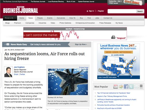 10. As sequestration looms, Air Force rolls out hiring freeze