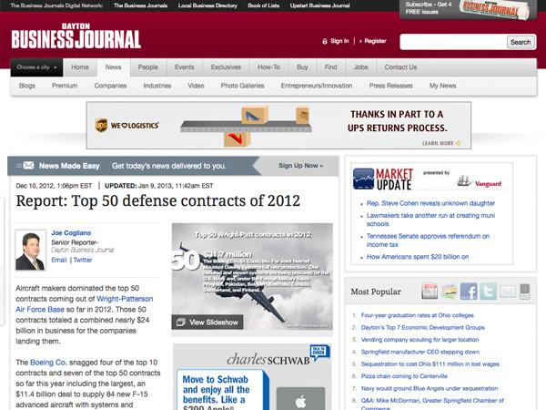 10. Top 50 largest military contracts of 2012 at Wright-Patterson Air Force Base