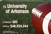 University of Arkansas is the No. 15 richest college football team of 2011.