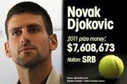 Novak Djokovic is ranked No. 1 for total prize money.