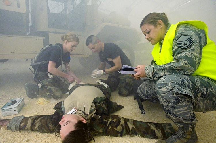 The Air Force simulates injuries for a medical training exercise. The 711th Human Performance Wing, forming at Wright-Patt, handles medical training and research. The Wing is providing a boost to the local economy with a $93M contract.
