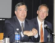 (Left to right) Paul Barbas CEO of DPL Inc.and chair of Wright-Patt 2020; Jeff Hoagland, president and CEO of the Dayton Development Coalition