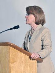 Carol Clark, publisher of the Dayton Business Journal, kicks off the 40 Under 40 event.