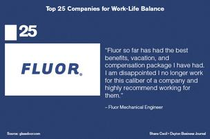 top 25 U.S. companies for work-life balance provided by Glassdoor.com