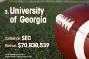 University of Georgia is the No. 3 richest college football team of 2011.