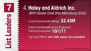 Haley and Aldrich Inc. is the No. 4 Dayton-area environmental engineering firm.