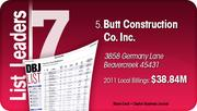 Butt Construction Co. Inc. is the No. 5 Dayton-area commercial construction company.
