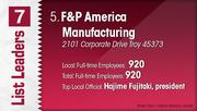F&P America Manufacturing is the No. 5 Dayton-area manufacturing company.