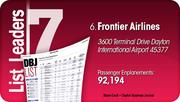Frontier Airlines is the No. 6 Dayton-area busiest passenger airline.