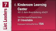 Kindercare Learning Center is the No. 6 Dayton-area child care centers.