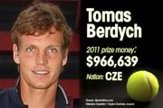 Tomas Berdych is ranked No. 9 for total prize money.