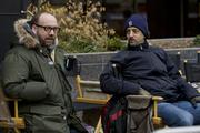 Paul Giamatti (left) and producer Grant Heslov on the set of Columbia Pictures' political thriller THE IDES OF MARCH.