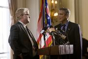 Philip Seymour Hoffman (left) and George Clooney star in Columbia Pictures' IDES OF MARCH.