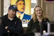 Producer Brian Oliver (left) with Evan Rachel Wood on the set of Columbia Pictures' political thriller THE IDES OF MARCH.