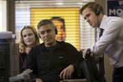 (l to r) Evan Rachel Wood, Director George Clooney and Ryan Gosling on the set of Columbia Pictures' IDES OF MARCH.