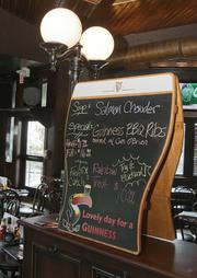 Among the food items are Irish-themed specials such as salmon chowder or BBQ Guinness ribs and corn O'Brien.