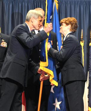 Gen. Janet Wolfenbarger became the first female four-star general in the U.S. Air Force and assumed the top position at Air Force Materiel Command on Tuesday morning.