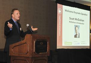 Scott McGohan of McGohan Brabender delivers the keynote address at the DBJ's 2012 Healthiest Employers awards breakfast Thursday at the Crown Plaza in downtown Dayton.