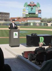 Sean Creighton, executive director of SOCHE, speaks at the start of the 20 By 20 Internship Fair that took place Wednesday afternoon at Fifth Third Field in downtown Dayton.