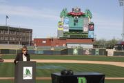 Judy Dodge, Montgomery County Commissioner, speaks at the start of the 20 By 20 Internship Fair that took place Wednesday afternoon at Fifth Third Field in downtown Dayton.