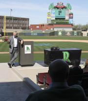 Dayton Mayor Gary Leitzell speaks at the start of the 20 By 20 Internship Fair that took place Wednesday afternoon at Fifth Third Field in downtown Dayton.