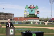 Dayton City Manager Tim Riordan speaks at the start of the 20 By 20 Internship Fair that took place Wednesday afternoon at Fifth Third Field in downtown Dayton.