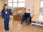 Amanda Veldman, a nurse at Miami Valley Hospital South, shows the new rehab gym used for physical therapy in the new patient tower at the Centerville hospital.