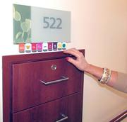 Each of the patient rooms in the new five-story tower at Miami Valley Hospital South in Centerville have pull-tabs by the door that can be used to alert staff to if visitors are there or if food has been ordered or other information necessary.